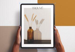 Hands Holding Tablet Pro Vertical Mockup Image02