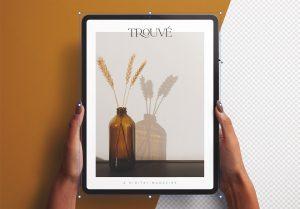 Hands Holding Tablet Pro Vertical Mockup Thumbnail 2