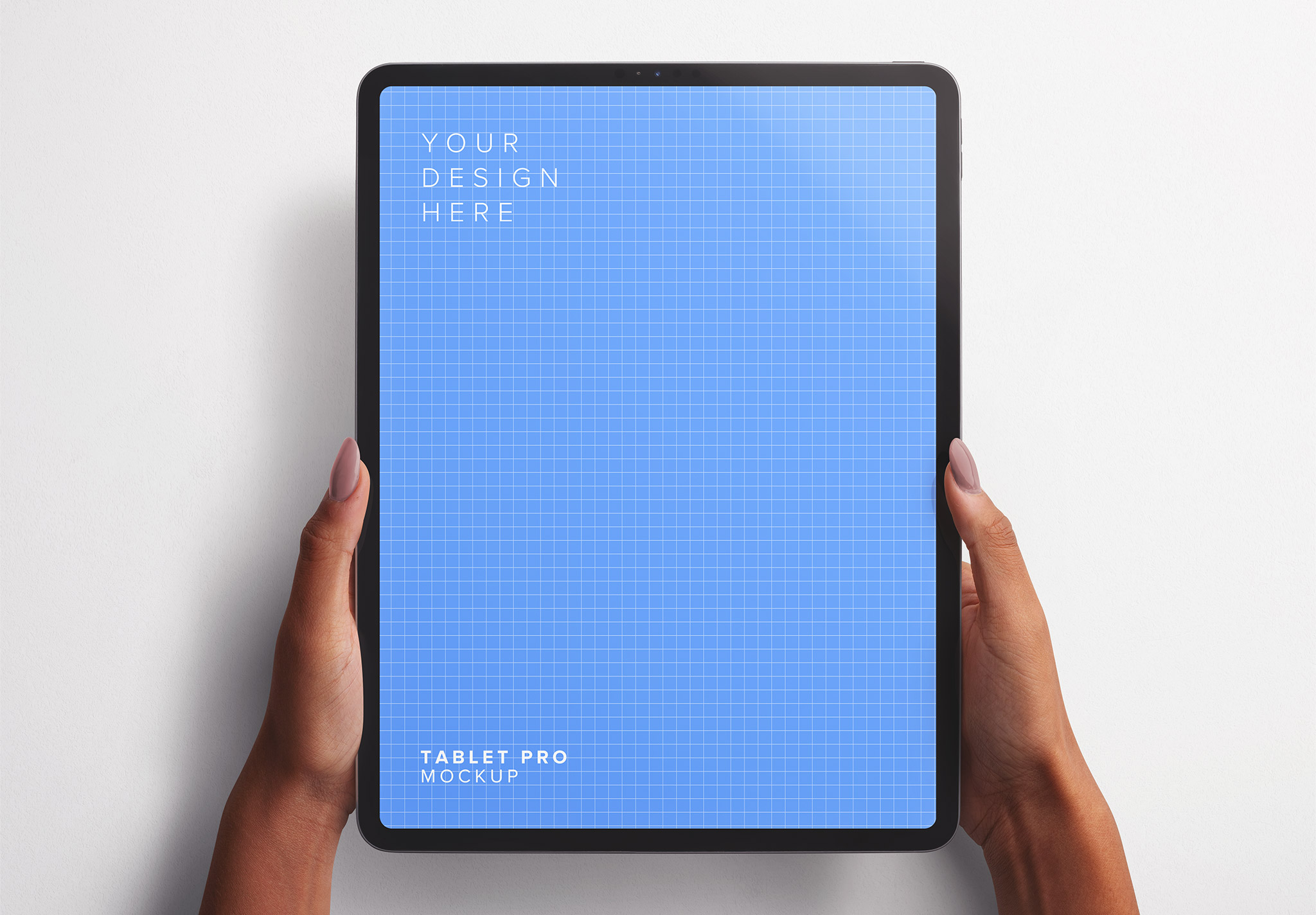 Hands Holding Tablet Pro Vertical Mockup Thumbnail