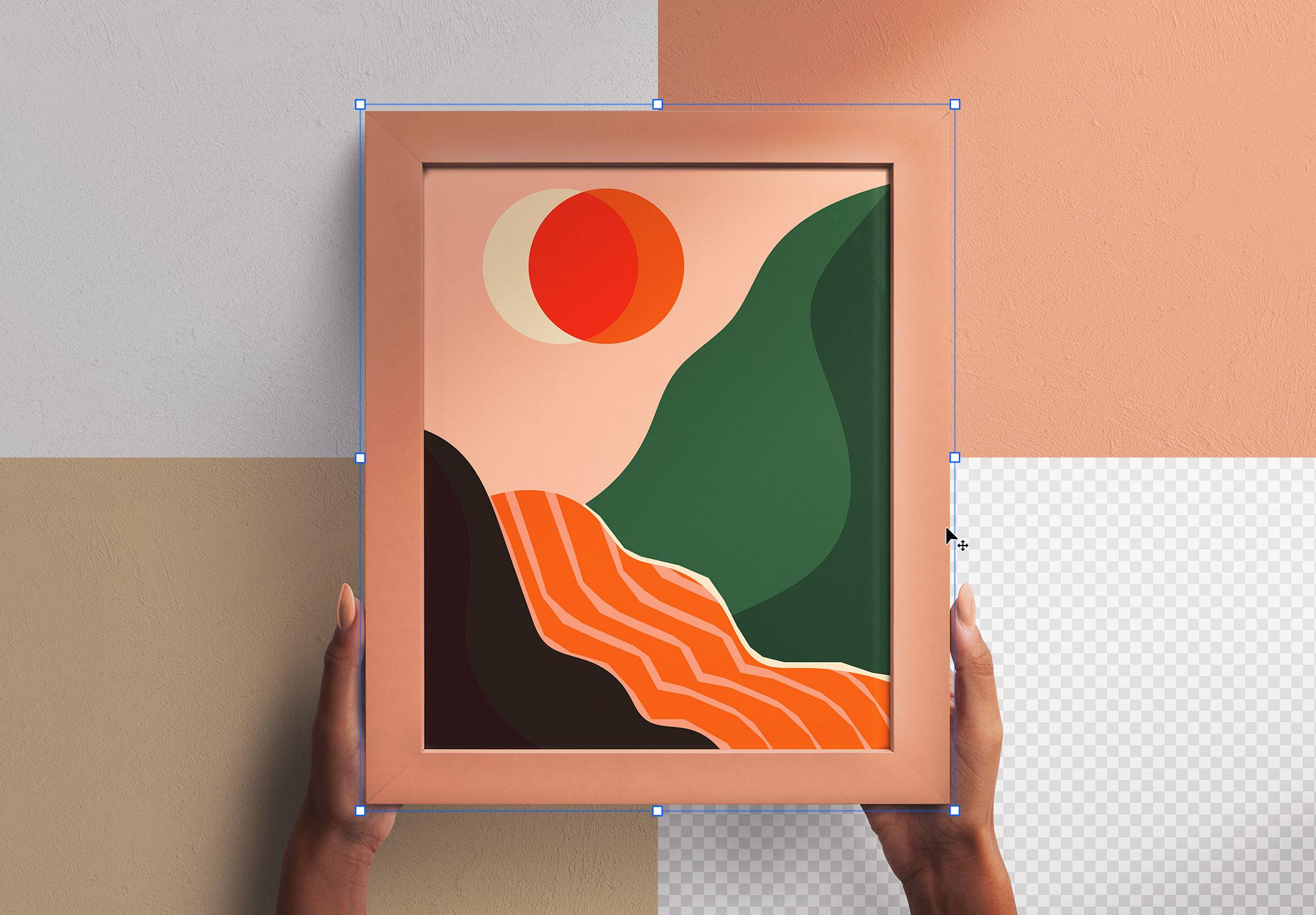Hands Holding Wall Frame Vertical Mockup Image02