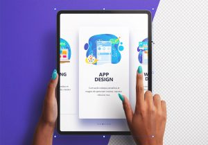 Hands Using Tablet Pro Vertical Mockup Thumbnail 2