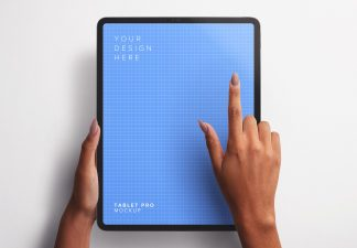 Hands Using Tablet Pro Vertical Mockup Thumbnail