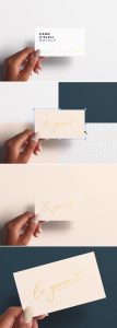 Woman Hand Holding Business Card Mockup Preview