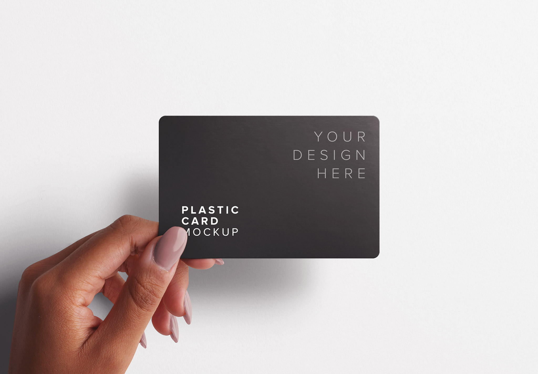 Woman Hand Holding Plastic Card Mockup Thumbnail