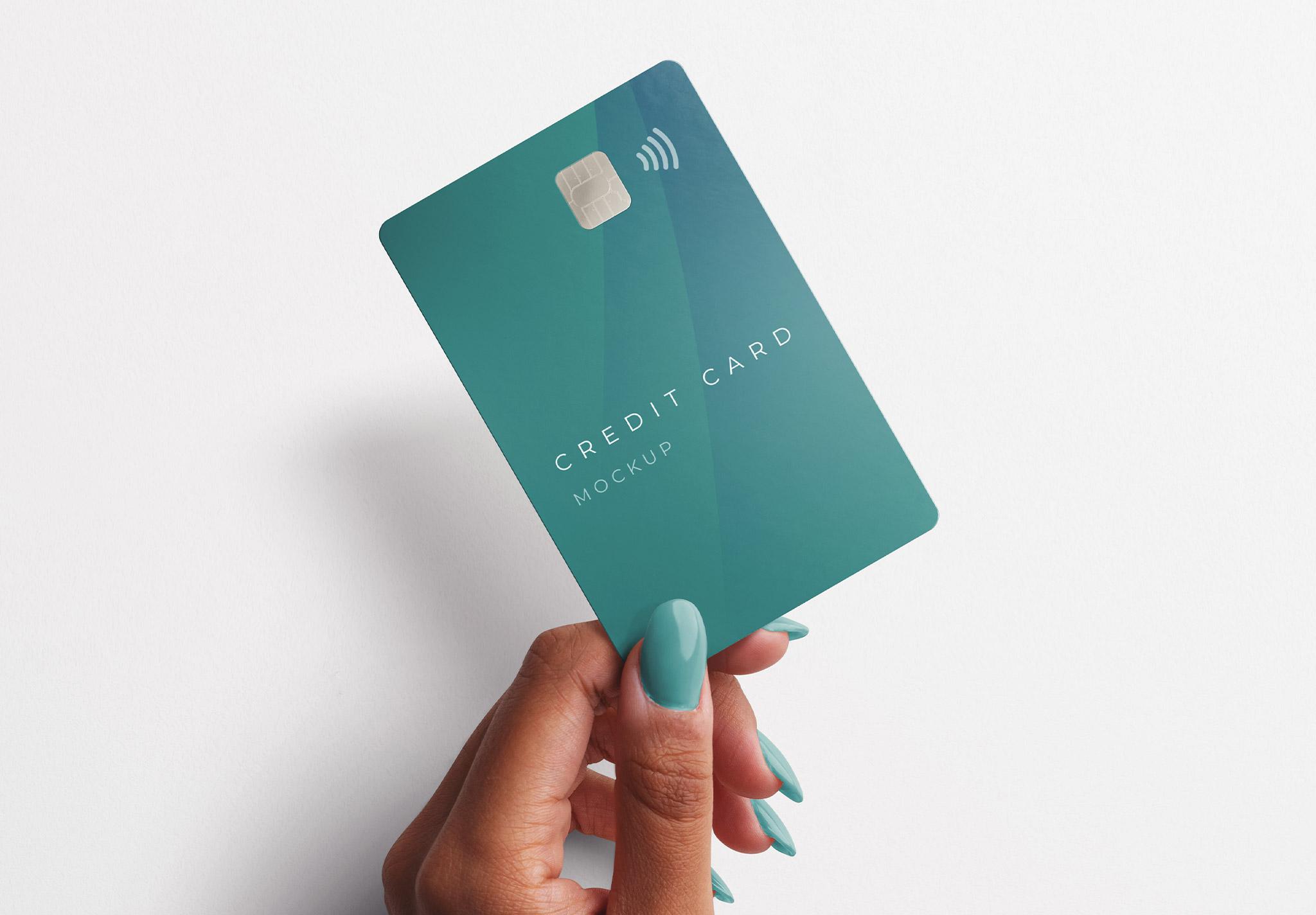 Woman Hand Holding Plastic Card Mockup 2 Image04