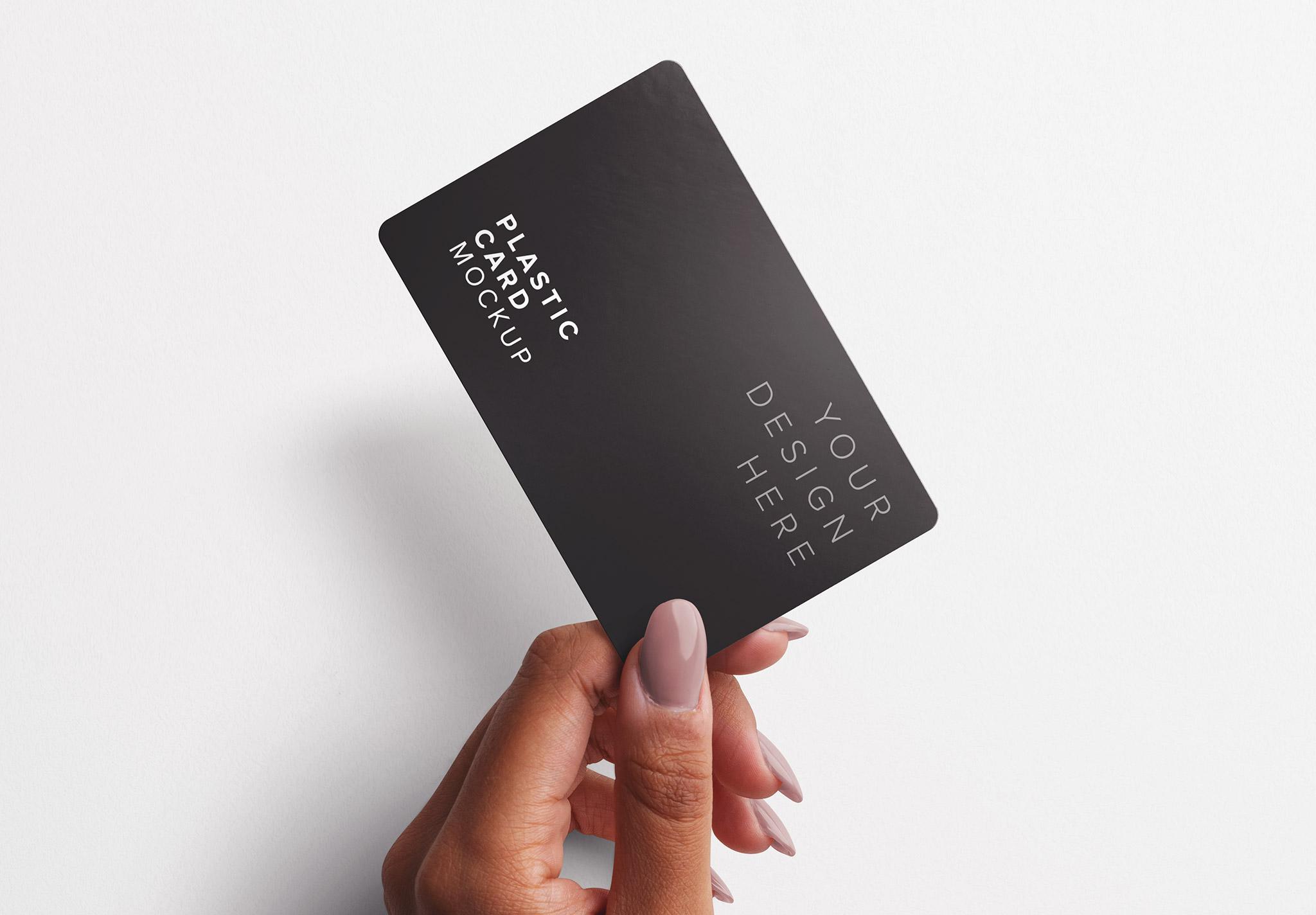 Woman Hand Holding Plastic Card Mockup 2 Thumbnail