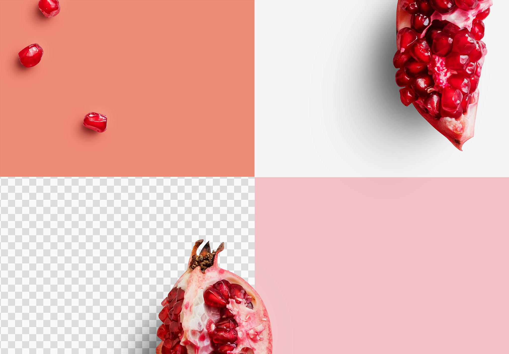 Fruit Pomegranates Isolated Objects 2