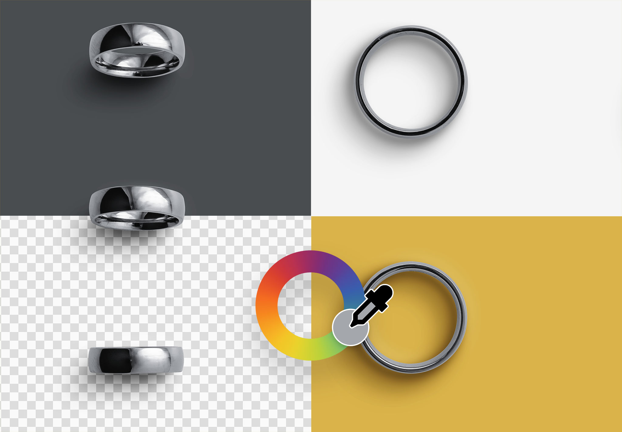 Wedding Rings Color Editable
